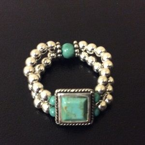 Jewelry - Sterling Silver & Turquoise Stretch Ring